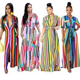 Vestido más grande del arco iris online-Camisa a rayas de las mujeres Vestidos de manga corta Faldas largas Vestido de cuello de solapa Rainbow Ropa casual más el tamaño S-3XL 6600 352