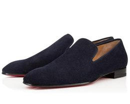 I pattini del vestito dal tallone del tallone piano online-2019 New Black Dandelion Loafers Red Bottom Square toe Casual Mens Mocassini Tacchi Bassi Mens Flats Sapatos Mujer Slip On Oxfords Dress Shoes