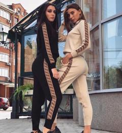 2019 hoodie de dois lados Mulheres designer de duas peças de moletom com capuz Sexy Europeus e Americanos Vogue Mulheres de Duas Peças da marca Listra Tarja Moletons Com Capuz Outfits hoodie de dois lados barato