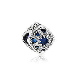 chili fascini Sconti Scatola in argento 925 con charms originale per cristalli blu Pandora Clear CZ Glacial Beauty Charm Bracelet Making accessories
