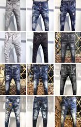 2019 bandera americana hombres capris Icono clásico D2 Moda Hombre Jeans Agujeros de Hip Hop de los hombres del diseño casual hombre rasgados pantalones vaqueros desgastados Pantalón ajustado Denim Jeans motorista