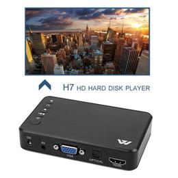 vga prise hdmi Promotion Mini Portable Full HD 1920x1080 HDMI VGA AV USB Disque dur Lecteur de disque Lecteur Multimédia H7 Pour Home Car Office Plug UE