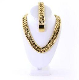 14k armband porzellan online-Mens Große Thick 14K Gold überzogenes Miami Cuban Kette und Armband Set 21mm JayZ