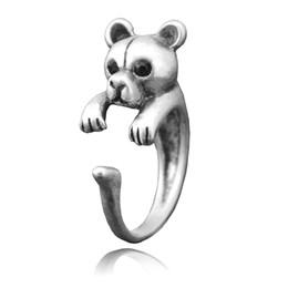midi metal Rebajas Anillo de oso plateado de metal plateado vintage para mujer Midi Finger Animal Ring Anillos de boda Niñas Hombres Niños Boho Chic Ring Party