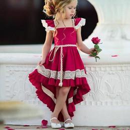 Vestidos de garotas de vinho on-line-Ins estilo novo verão swallowtail ack oco out menina vinho vermelho sexy girl dress crianças roupas elegante ins vestido de verão