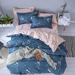 наволочки кинг-сайз Скидка Pink Plum Blossom Print Duvet Cover Set fashion  Bedding Set twin Queen King Size Girls Bed Linens/Coverlet Bed Sheets