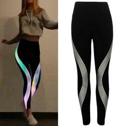 73f8856ea000 rainbow leggings women Promo Codes - Women Geometric Stripe Rainbow  flexible track Leggings Fitness sports trousers