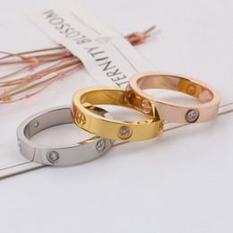 Модели колец онлайн-Top LOVE Rings models screw titanium steel ring couple rose gold women's Love rings With original velvet bag