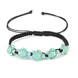 Line ornamenti online-Summer Beach Wax Line Turquoise Foot Ornaments Five Turtles Anklet for Women Braccialetto alla caviglia Donna Sandals on The Leg Chain Foot Jewelry