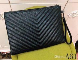 bolsos de cuero bordados Rebajas Clásico de cuero negro bordado a mano V-line venta 2019 nuevas damas versátil bolso de embrague bolso mensajero