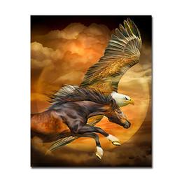Pintura de parede da águia on-line-Pintura DIY Oil Digital By Numbers Águia imagens do cavalo pintado à mão Desenho animal colorir Canvas Wall Art Decor Home