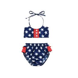 Bandiera di costume da bagno online-Bikini delle ragazze senza maniche bandiera Dot Star Button Sling Costume da bagno American Flag Independence National Day USA 4 luglio Swim
