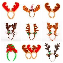 Fibbia a campana online-Cartoon di Natale Antlers HairBands flanella fascia con il Natale Decor campana delle ragazze dei capretti Capelli Fibbia partito puntelli cappelli FFA3007