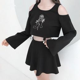 Punk Gothic New Thin Flower Embroidery Long Sleeve Short Tee Twinset  Harajuku Woman Off Shoulder High Waist Buckle Skirt 82e1e9aab