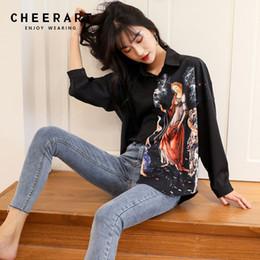 camisa de pintura vintage Rebajas Cheerart Blusa Negra Mujer Camisa de Manga Larga Pintura Al Óleo Imprimir Vintage Top Alto Bajo Cuello camisa con botones