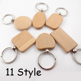 Natural Wooden Key chain Key Ring Round Square Anti Lost Wood Accessories C