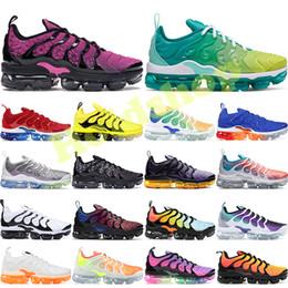 chaussure de sport balle mi-coupe Promotion Nike Vapormax Plus TN Bumblebee Plus Tn Running Chaussures Mens Rainbow Lemon Lime USA Gris De Loup Être Be True Grape Triple Noir Blanc Femmes Chaussures De Designer Baskets 36-45