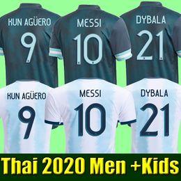 jérsei tailandês xxl Desconto Tailândia Argentina camisa de futebol Copa América 2020 camisa de futebol argentina camisa de futebol MESSI DYBALA AGUERO men + Kids kit define uniforme