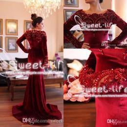 robes de soirée rouge islamique Promotion 2019 Arabe islamique Abaya à Dubaï robes de soirée de sirène musulmanes encolure dégagée en velours rouge foncé dentelle avec perles à manches longues robes de soirée de bal