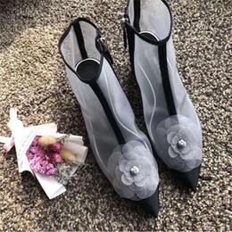 Stivali neri della caviglia estiva online-Stivaletti con chiusura lampo a coste con chiusura a bottone a fiori donna Sexy Tacco a spillo con stivaletti da donna con patchwork