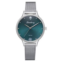 2019 женские серебряные часы Роскошные Женщины Зеленый Циферблат Часы Браслет Кварцевые Часы Мода Металл Серебряный Пояс Мода Творческое Платье Часы для Женщин Подарок дешево женские серебряные часы
