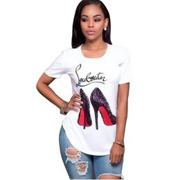 Moda Mujer Camiseta Manga corta Zapatos de tacón alto Camiseta estampada Tops Verano O-cuello Camisetas Camisetas Niñas Camisetas Casual Street Wear S-3XL desde fabricantes