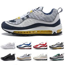 2019 спортивные конусы nike Air Max 98 shoes 2019 Designer Men women Running Shoes Gundam Triple Black White Cone Tour Yellow Red Newest Mens Sports Trainers Sneakers 36-45 скидка спортивные конусы