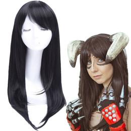 Capelli neri cosplay lunghi della ragazza online-Dettagli su Anime Girl Long Straight Bangs Black Cosplay Parrucche Full Halloween Parrucca per capelli