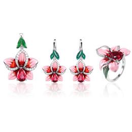 Conjunto de orquídeas on-line-Rosa esmalte flor conjunto de jóias mulheres conjunto de pingente de anel de pingente de pérolas de cobre orquídea jóias Bohemia casamento anel brinco pingente