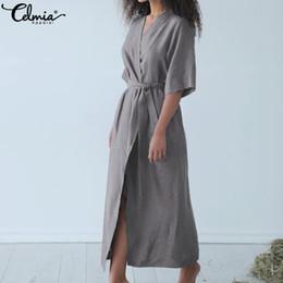 2c067dee3d Celmia 2019 Summer Women Maxi Long Dress Casual Home Clothes Shirt Dresses  Pajamas Sexy Nightdress Linen Robe Vestidos Mujer 5XL