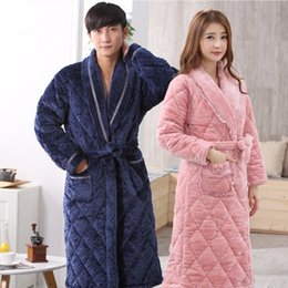 e260d3085f New Winter Couple Thicken Long Flannel Coral Fleece Bathrobes Men Women  Homewear Warm Bath Robes Gown Bridesmaid Robes Female men sexy robes on sale