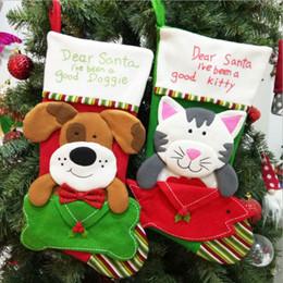 sacos em forma de cão Desconto 2019 Meias de Natal Único Bonito Cão Forma de Gato Meias de Natal Saco de Presente de Doces Para Artigos de Festa Festiva