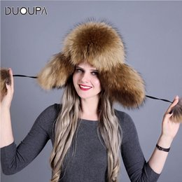 11b0c965a0f DUOUPA Russian leather bomber leather hat Women Winter Hat Earflap Real Fox  Fur Genuine Caps With Earflaps Ushanka