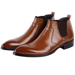 Gran tamaño EUR45 Moda Negro / Marrón Botines para hombre Zapatos de vestir de cuero genuino Zapatos de negocios masculinos desde fabricantes