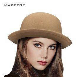 9b6e8591534 2018 New Winter Cap Vintage Lady Fedoras Wool Felt Fedora Hats Vintage  Fashion Wool Women s Cute Lady Hat Trendy Bowler Derby D19011102