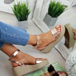 Peep de cunha on-line-Laamei Sandálias Plataforma de Verão 2019 Moda Feminina Plana Sandália Cunhas Sapatos Casuais Mulher Peep Toe Senhoras Plataforma Sandálias GMX190705