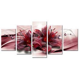 Decoración del hogar contemporáneo online-Sin marco 5 Unidades Pintura de la Lona Flor de Lirio Rojo Contemporánea Imagen de Pared Decoración para el hogar para la Sala de estar Obras de Arte Regalo