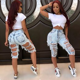 2019 mädchen tragen lässige jeans Jeans Zerrissene Shorts Jeans 2019 Große Mädchen Womens Plus Size Beiläufige Elastische Zerstörte HO HI Sexy Loch Denim Shorts Paket Club Wear Kurze Jeans günstig mädchen tragen lässige jeans