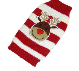 santa sweater Promo Codes - Christmas Elk Knitted Sweater For Dog Clothes Warm Striped Xmas Santa Claus Pet Small Dog Sweater Clothing Coat Classic Pet Outfit XXS-XXL