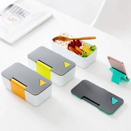 Secchio online-Plastica Bento Box Mobile Phone Lunch Box Monolayer Dinner Pail Sigillato Portatile Antiscivolo Forno A Microonde Riscaldamento 8 5gmb1