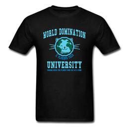 2020 mundos mais engraçados camisetas Cat T Shirt Cartoon World Domination T-shirt Homens Roupa engraçada Blue Black T-shirt Moda Verão Top Astronaut Pet mundos mais engraçados camisetas barato