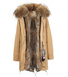 Pellicce di coniglio Brown Grass Fodera rimovibile da donna Parka lunga con cappuccio con collo di pelliccia di procione caldo per l'inverno freddo JAZZEVAR Marchio da giallo trapuntato fornitori