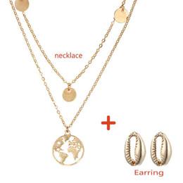 Ensembles de bijoux gothique d'été pour les femmes Gold Colors Shell boucles d'oreilles carte collier femmes africaines cadeaux de fête de mariage ? partir de fabricateur
