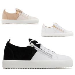 mens casual shoes zippers Promo Codes - Designer Gold Zipper Black White Nude Splice Men Women Luxury Flats Leather Suede Casual Sports Trainers Top Sneakers Mens Shoes