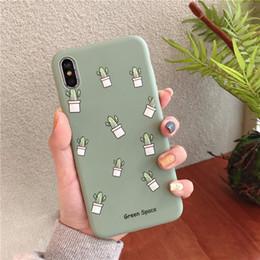 Kawaii Matcha chá verde cactus phone case capa de silicone Para coque iphone 7 7 Plus 8 X XS casal planta casos Coréia de