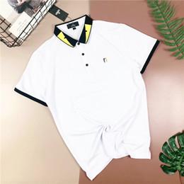 polo Rebajas 19SS marca italiana Fend Polo camisa manga corta camiseta solapa hombres y mujeres moda pecho FF letras bordado logotipo calle Polo