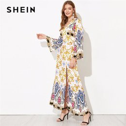 Maxi kleid modern online-SHEIN Cut-Out Zurück Bell Sleeve Slit Hem Damast Partykleid Moderne Dame Sexy Backless V-ausschnitt Frühling Frauen Maxi Kleider