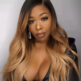 hairstyles for natural wavy hair Coupons - Natural Wave Glueless Ombre#1b 27 Lace Front Wavy Human Hair Wigs Peruvian Ombre Honey blonde Full Lace Human Hair Wigs For Black Women