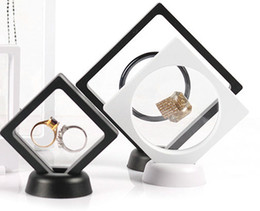 jewellery ring display case Promo Codes - Black White Suspended Floating Display Case Jewellery bracelet Ring Coins Gems Artefacts Stand Holder Box Free Shipping