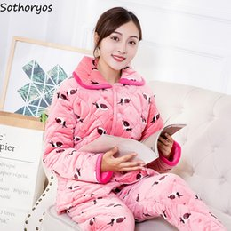 b50dbf251e Pajama Sets Women Winter Flannel Cartoon Printing Soft Pajamas Womens Long  Sleeves Soft Pockets 2 Pieces Homewear Kawaii Set